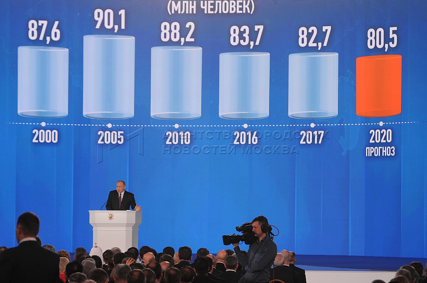 Президент РФ Владимир Путин во время ежегодного послания Федеральному собранию в центральном выставочном зале «Манеж».